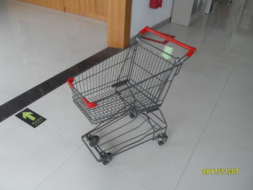 45L Wire Shopping Cart For Small Market , 4 Wheel Metal Shopping Trolley