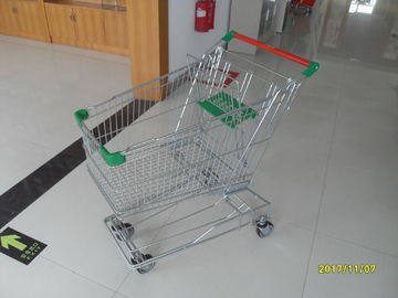 Zinc Plated Wire Shopping Trolley 125L With Green Plastic And Button Low Tray