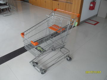 100L Low Carbon Metal Shopping Cart With 4 Swivel 4 Inch Autowalk Casters