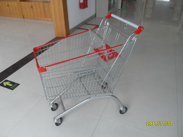 60L Supermarket Shopping Carts With Zinc Plating / Clear Powder Coating
