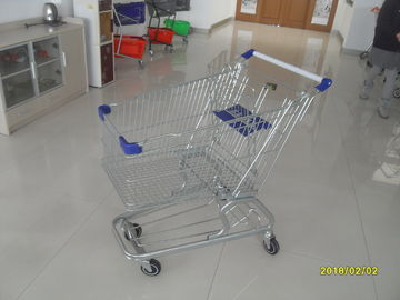 Low Tray 100L Supermarket Shopping Trolley European Steel With Blue Baby Seat