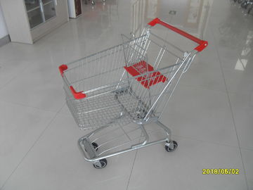 China American Supermarket Grocery Shopping Trolley With Red Plastic Parts factory