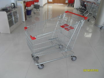 Zinc Plated  Chromed Grocery Shopping Cart 240L Hand  With Metal Tube Base