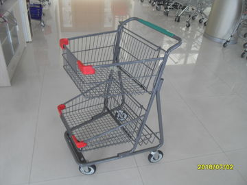 China Two Deck Basket  Shopping Trolley Cart With Grey Powder Coating Surface Treatment factory