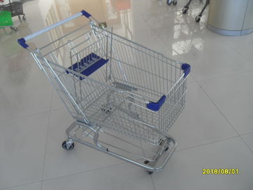 100L Low Tray Supermarket Shopping Trolley Zinc Plated  With Blue Baby Seat