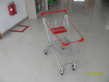 60 L Supermarket Push Cart , Small Shopping Trolley With 4 PVC Casters
