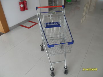 80 L Steel Supermarket Shopping Carts With Blue Plastic Parts And Safety Babyseat