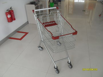 Durable Supermarket Shopping Carts , Wire Grocery Cart Zinc Plated Clear Powder Coating