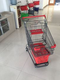 Grey Powder Coating 80L Supermarket Shopping Carts With 4 Inch PU Casters