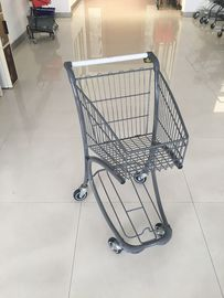 40L Steel Tube Airport Supermarket Shopping Trolley With Advertisement Board