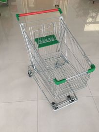 Professional 125 Liter Wire Grocery Cart With Wire Mesh Base Grid , ROHS