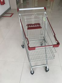 Wire Grocery Cart / Zinc plating clear  powder coating with4 PU casters