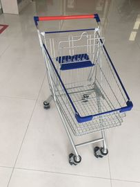 China Metal Wheeled Supermarket Shopping Carts With Safety Anti - UV Plastic Parts factory