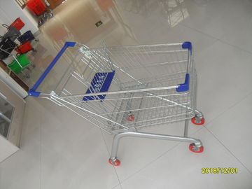 China Europe Style 100L Supermarket Shopping Carts Grocery With Blue Plastic Parts factory