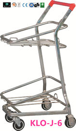 China American Style Metal Shopping Basket Trolley / Two Basket Shopping Cart 50KGS factory