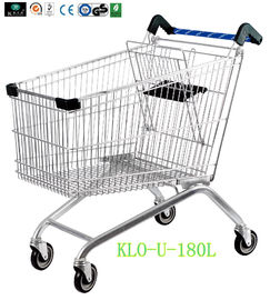Portable Metal Chrome Plated Disabled Shopping Trolley For Hypermarket 180 Litre