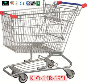 195L American Zinc Plated Wheeled Grocery Shopping Trolley with Anti UV Handle Cap