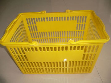 Portable Handheld Yellow Plastic Shopping Basket / Single Carry Handle Baskets