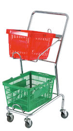 China Commercial Four Wheel Double Basket Shopping Trolley Cart 520x425x1010mm factory