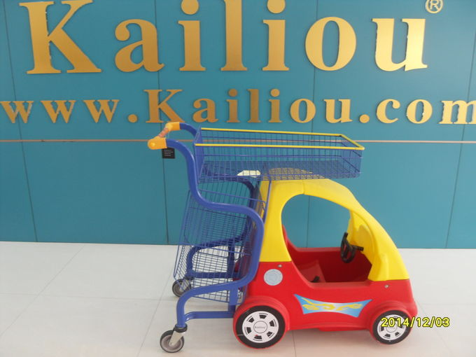 Funny Plastic Kids Shopping Carts With Metal Frame / Handle And Wheels