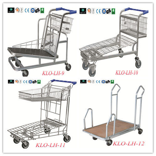 Two Layer Wire Warehouse Rolling Trolley For Carry Goods With PVC / PU / TPR Wheels