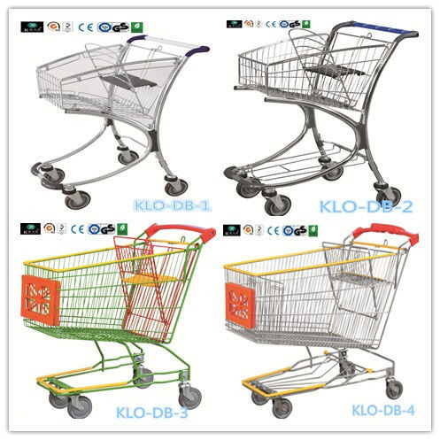 Chrome Plated Low Carbon Steel Airport Luggage Trolley Cart With Baby Seat 40L